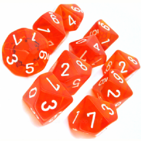 Orange & White Translucent D10 Ten Sided Dice Set